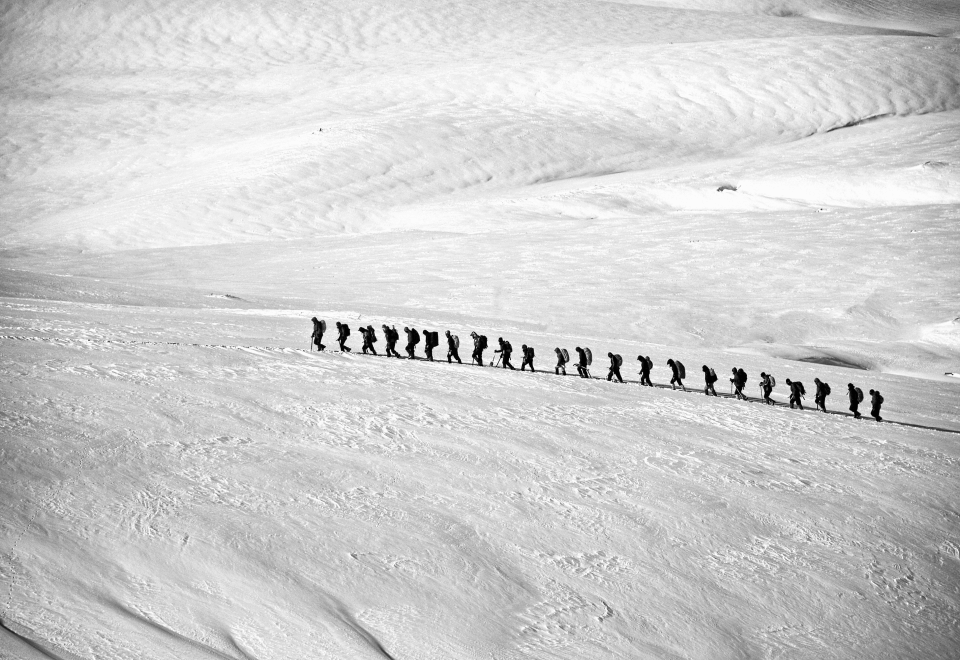 A team of explorers being led over snow